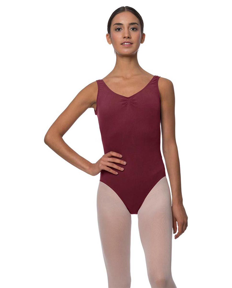 Adults Pinch Front and Low Back Tank Dance Leotard Luna BUR
