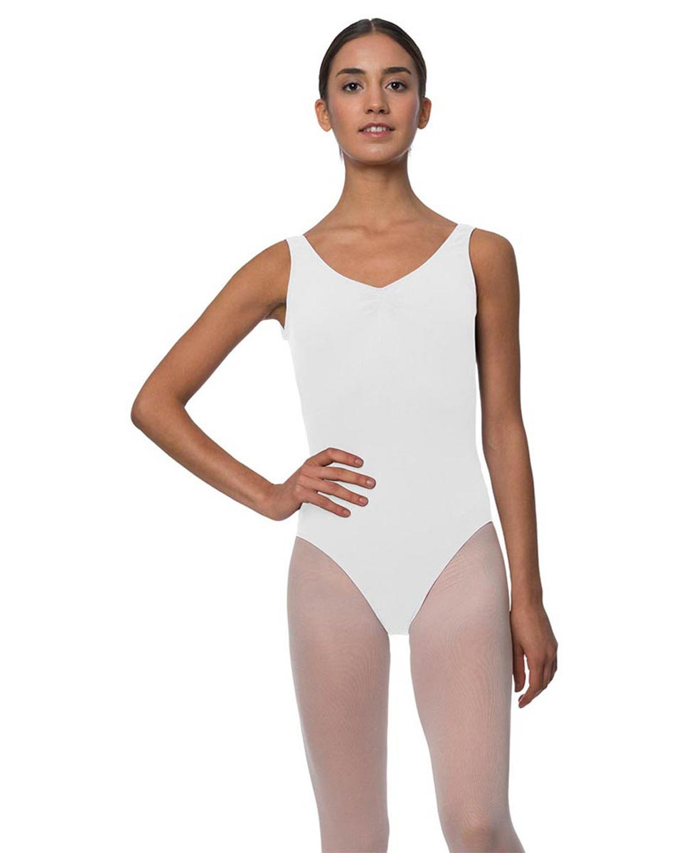 Adults Pinch Front and Low Back Tank Dance Leotard Luna WHI