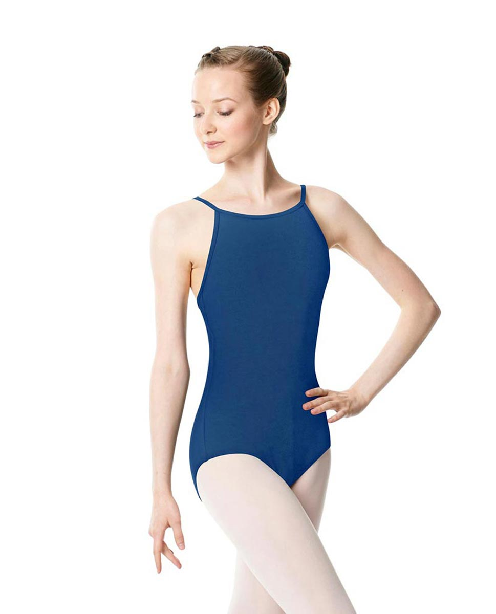 Adults High Jewel Neck Camisole Ballet Leotard Calla BLUE