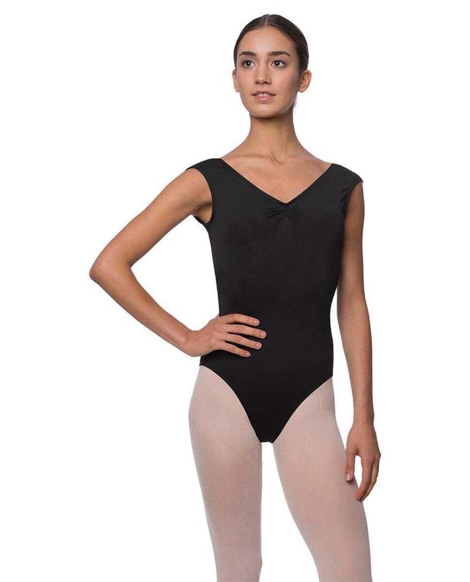 Womens Pinch Front Cap Sleeve Ballet Leotard Reyton BLK