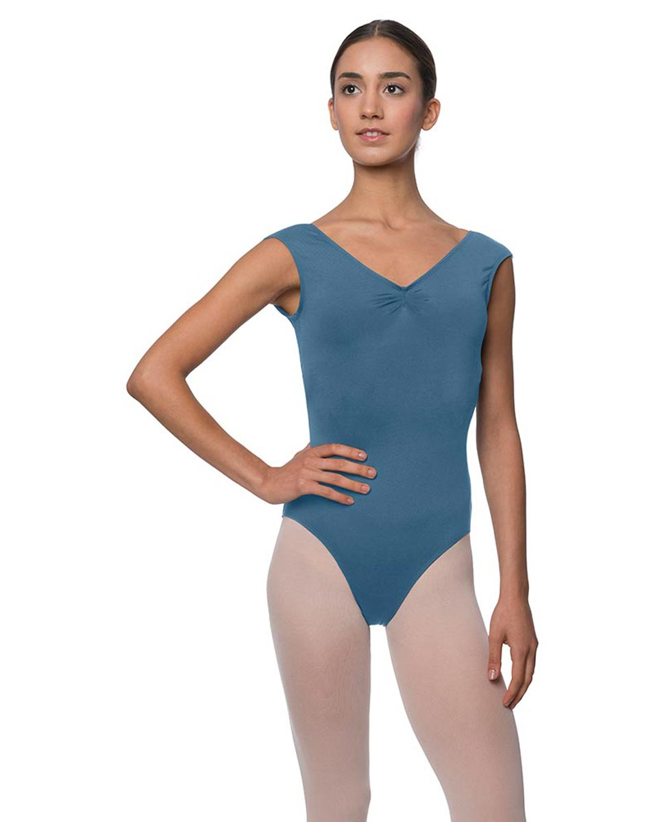 Womens Pinch Front Cap Sleeve Ballet Leotard Reyton BLUE