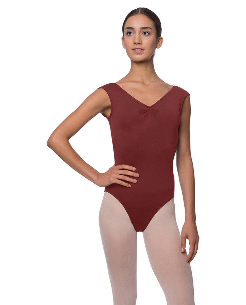 Womens Pinch Front Cap Sleeve Ballet Leotard Reyton BUR