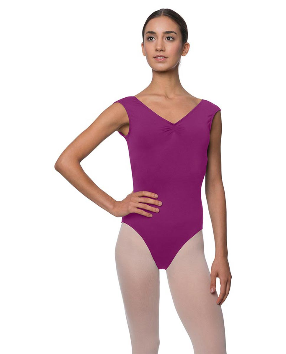 Womens Pinch Front Cap Sleeve Ballet Leotard Reyton GRAP