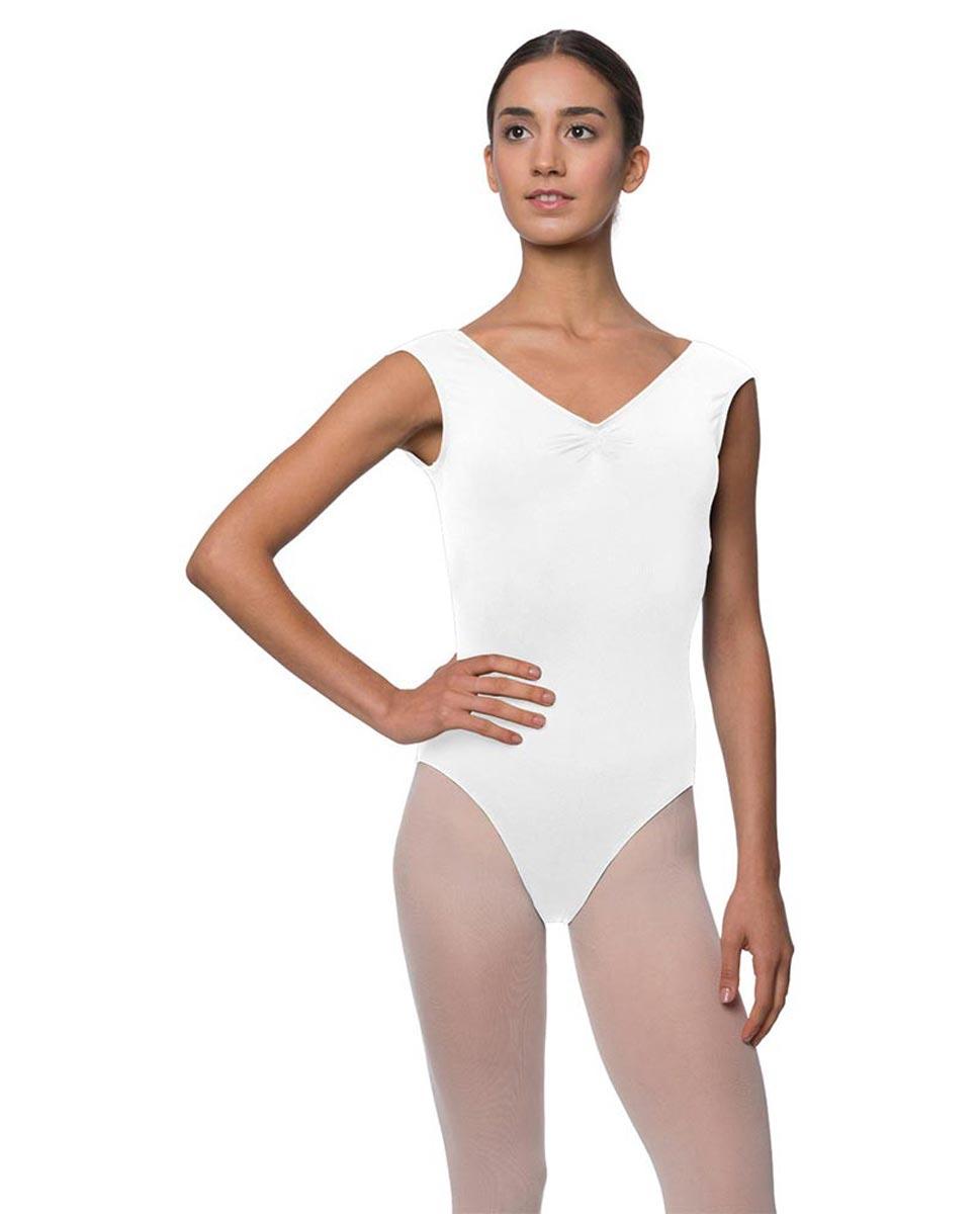 Womens Pinch Front Cap Sleeve Ballet Leotard Reyton WHI