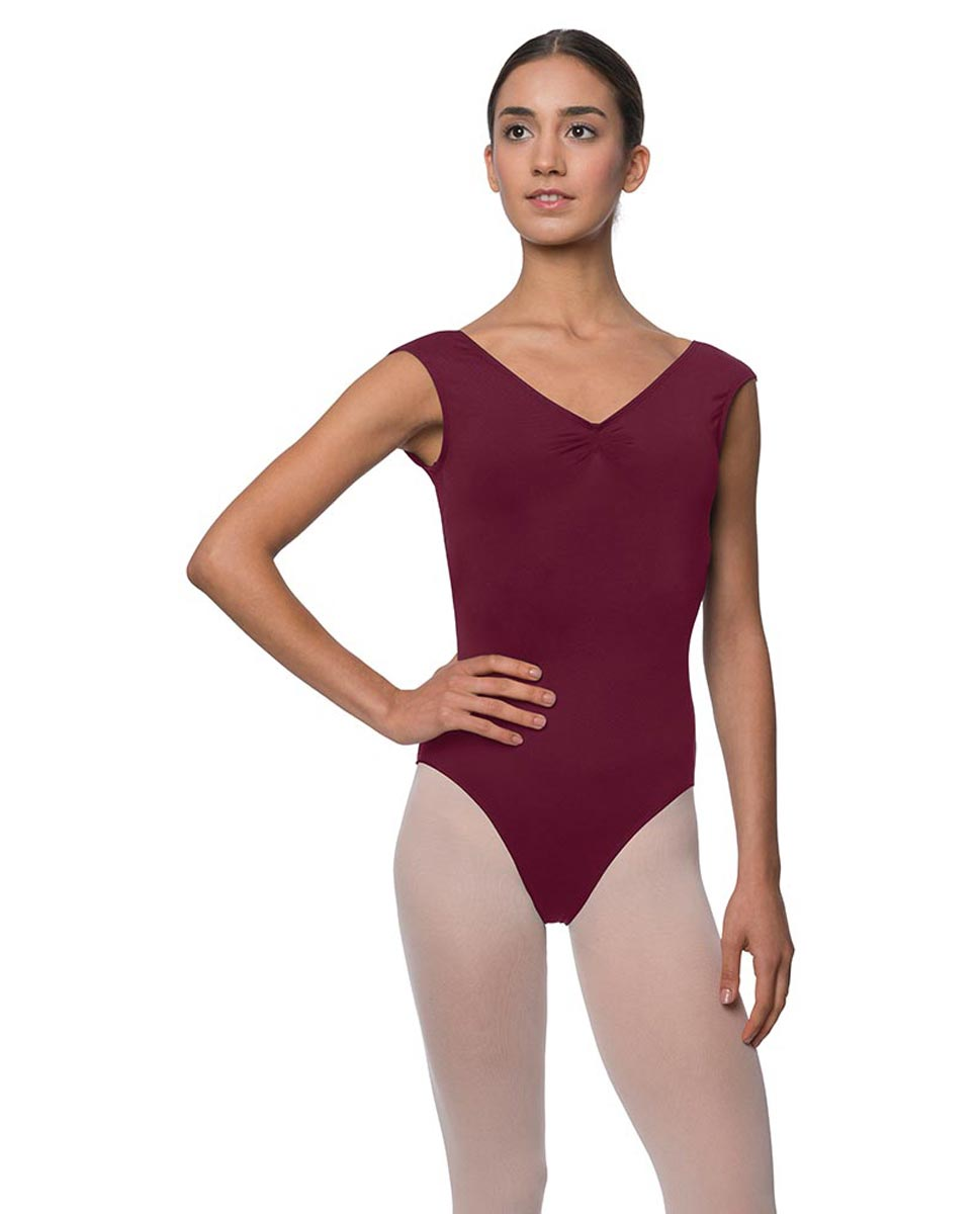 Womens Pinch Front Cap Sleeve Ballet Leotard Reyton WINE