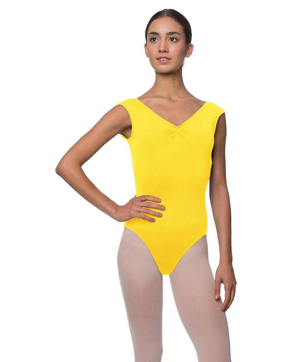 Womens Pinch Front Cap Sleeve Ballet Leotard Reyton YEL