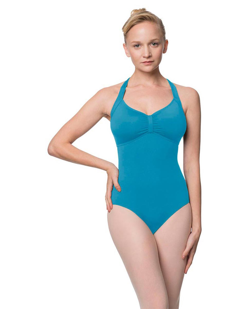 Adults Halter Open Back Dance Leotard Pearl TUR