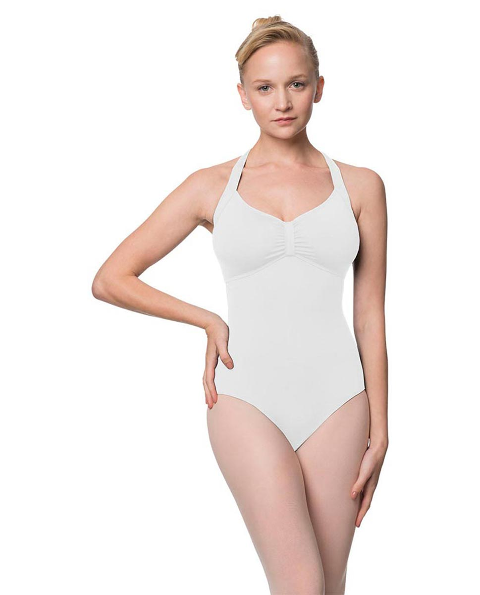 Adults Halter Open Back Dance Leotard Pearl WHI
