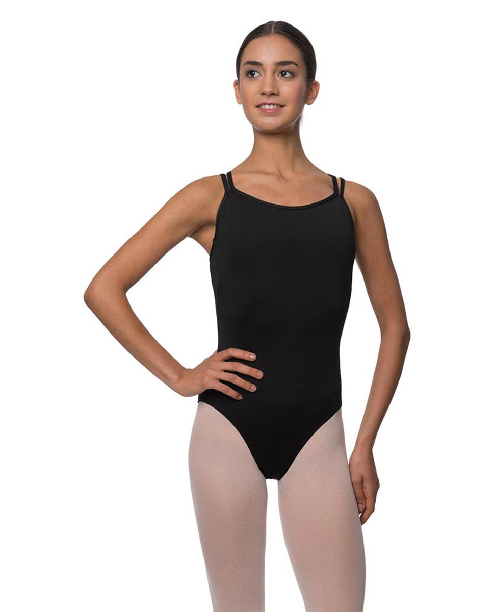 Womens Double Crossed Straps Camisole Dance Leotard Nina BLK