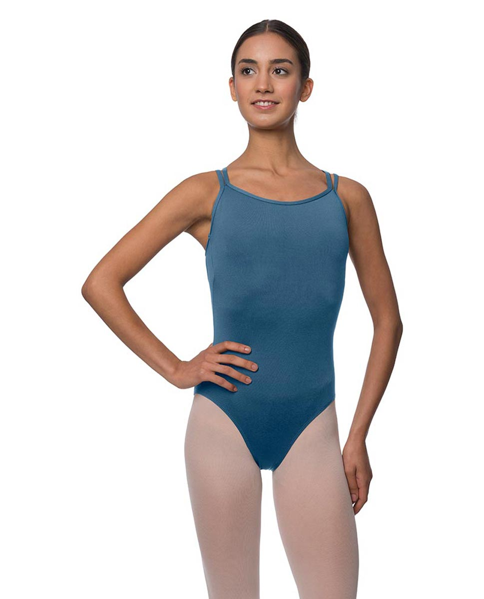 Womens Double Crossed Straps Camisole Dance Leotard Nina BLUE