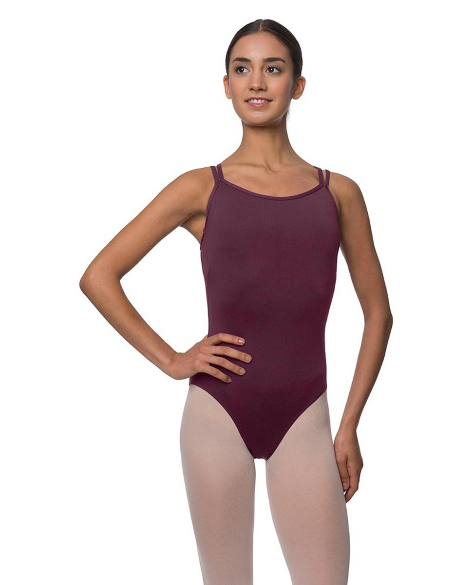 Womens Double Crossed Straps Camisole Dance Leotard Nina WINE