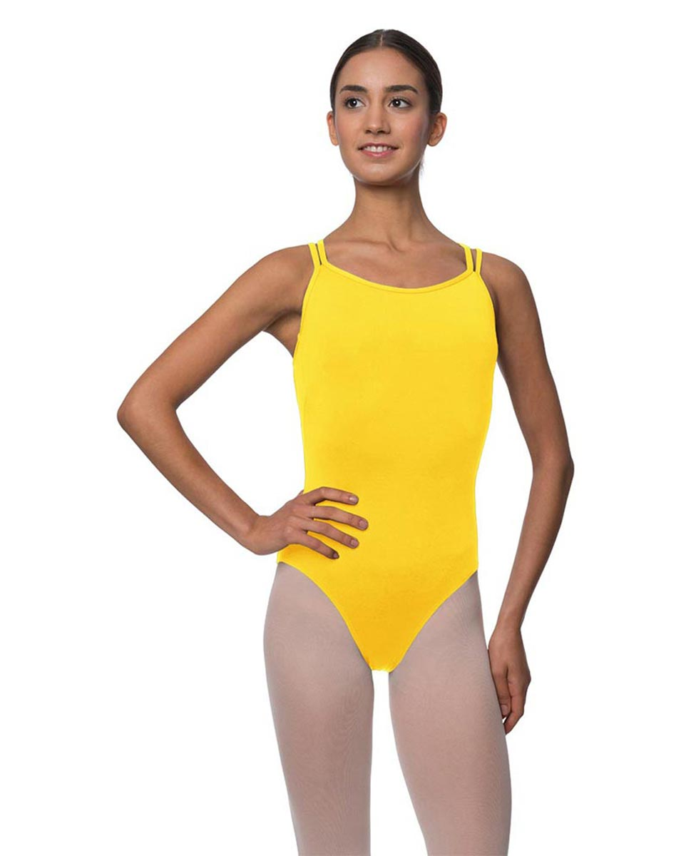 Womens Double Crossed Straps Camisole Dance Leotard Nina YEL
