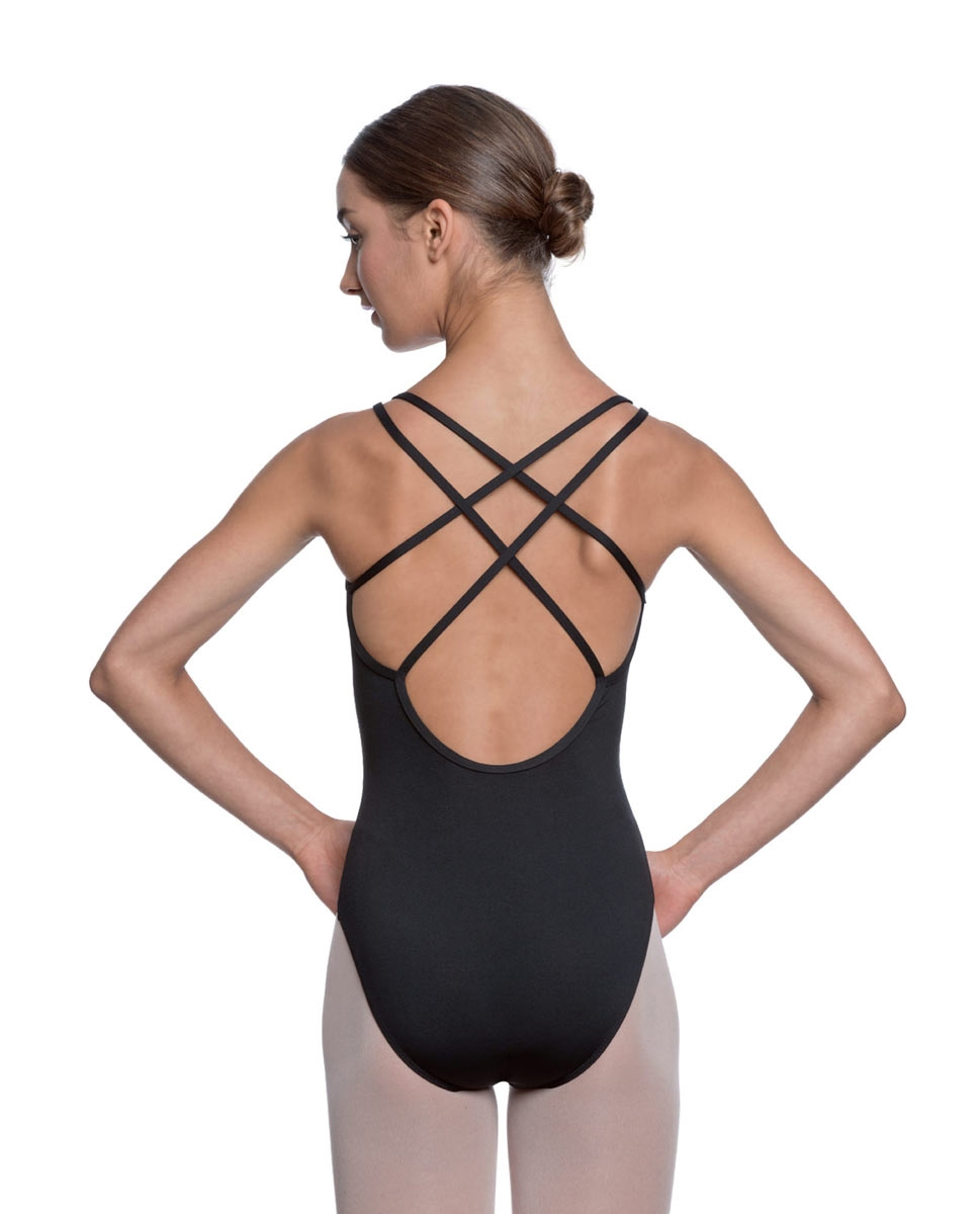 Womens Double Crossed Straps Camisole Dance Leotard Nina back