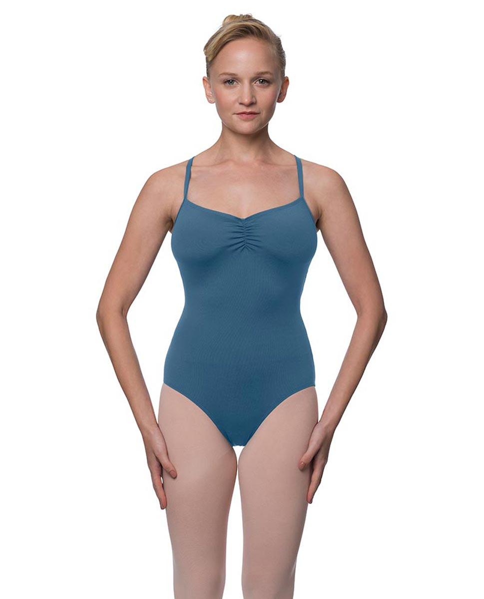 Womens Strappy Web Back Camisole Dance Leotard Paris BLUE