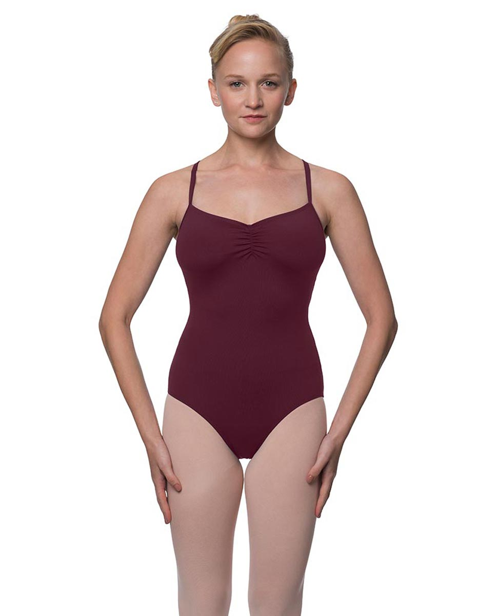 Womens Strappy Web Back Camisole Dance Leotard Paris WINE