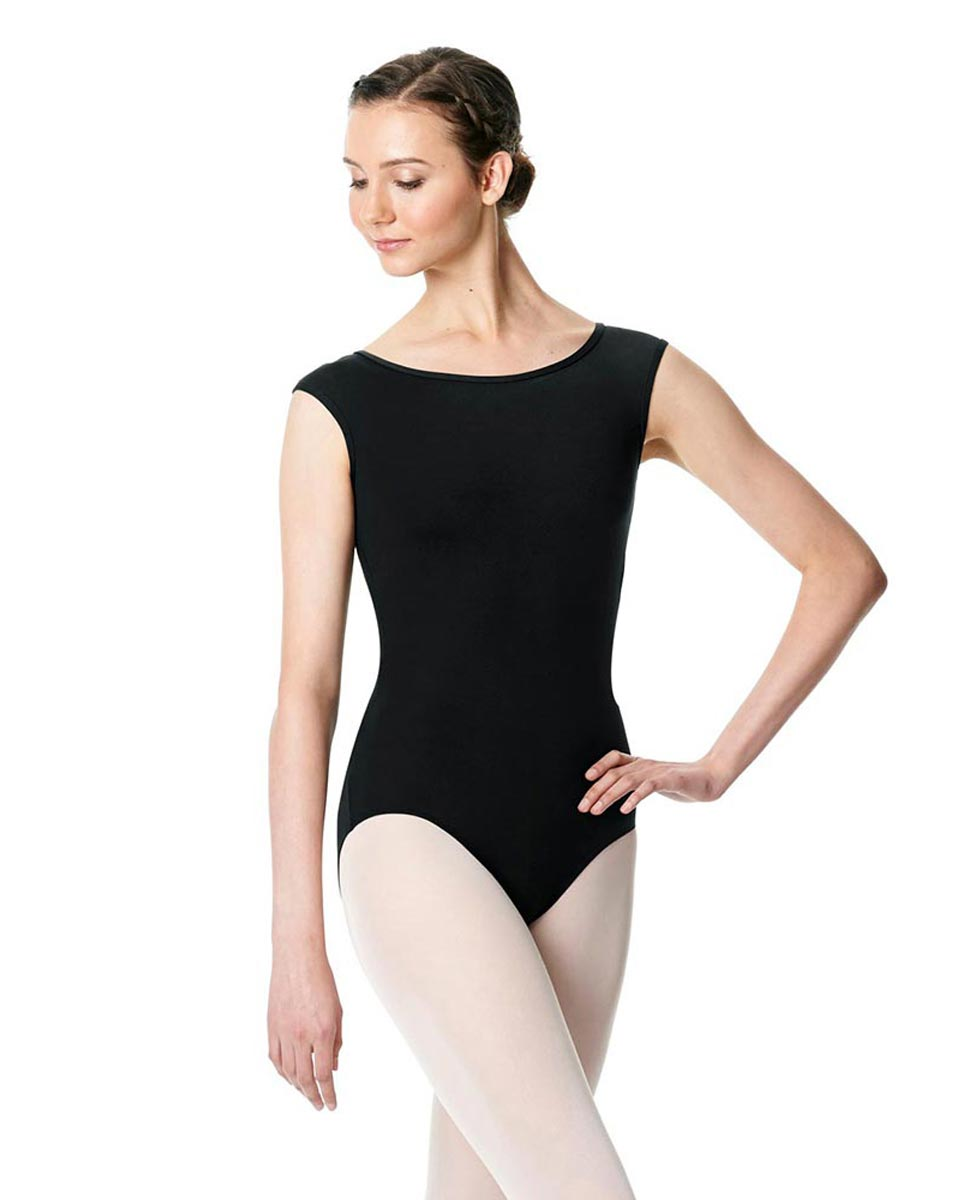 Cap Sleeve Open Back Dance Leotard Farah BLK