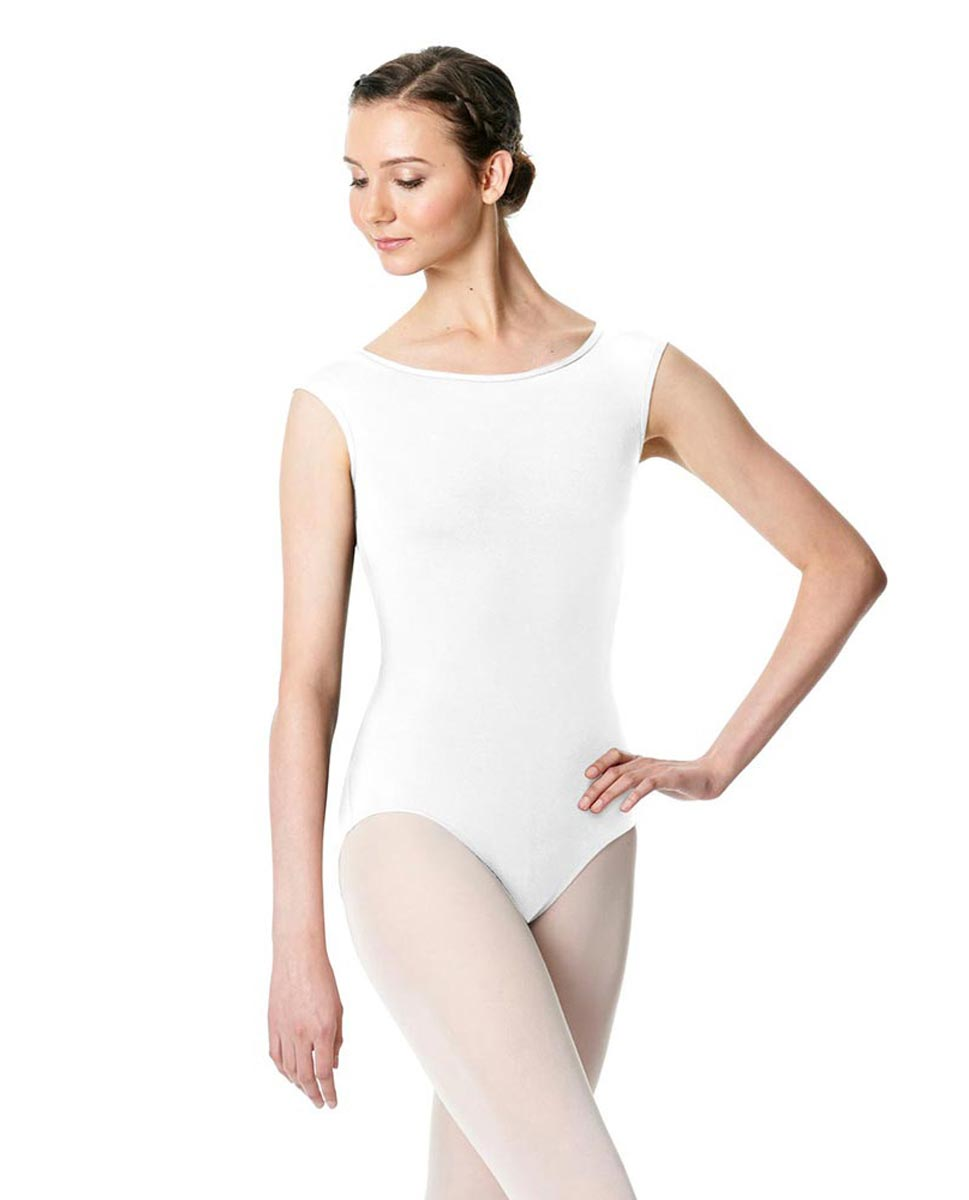 Cap Sleeve Open Back Dance Leotard Farah WHI