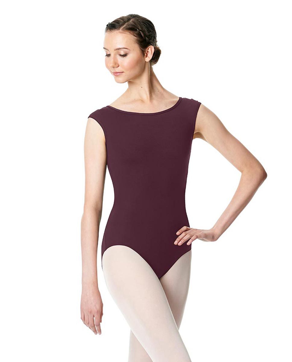 Cap Sleeve Open Back Dance Leotard Farah WINE