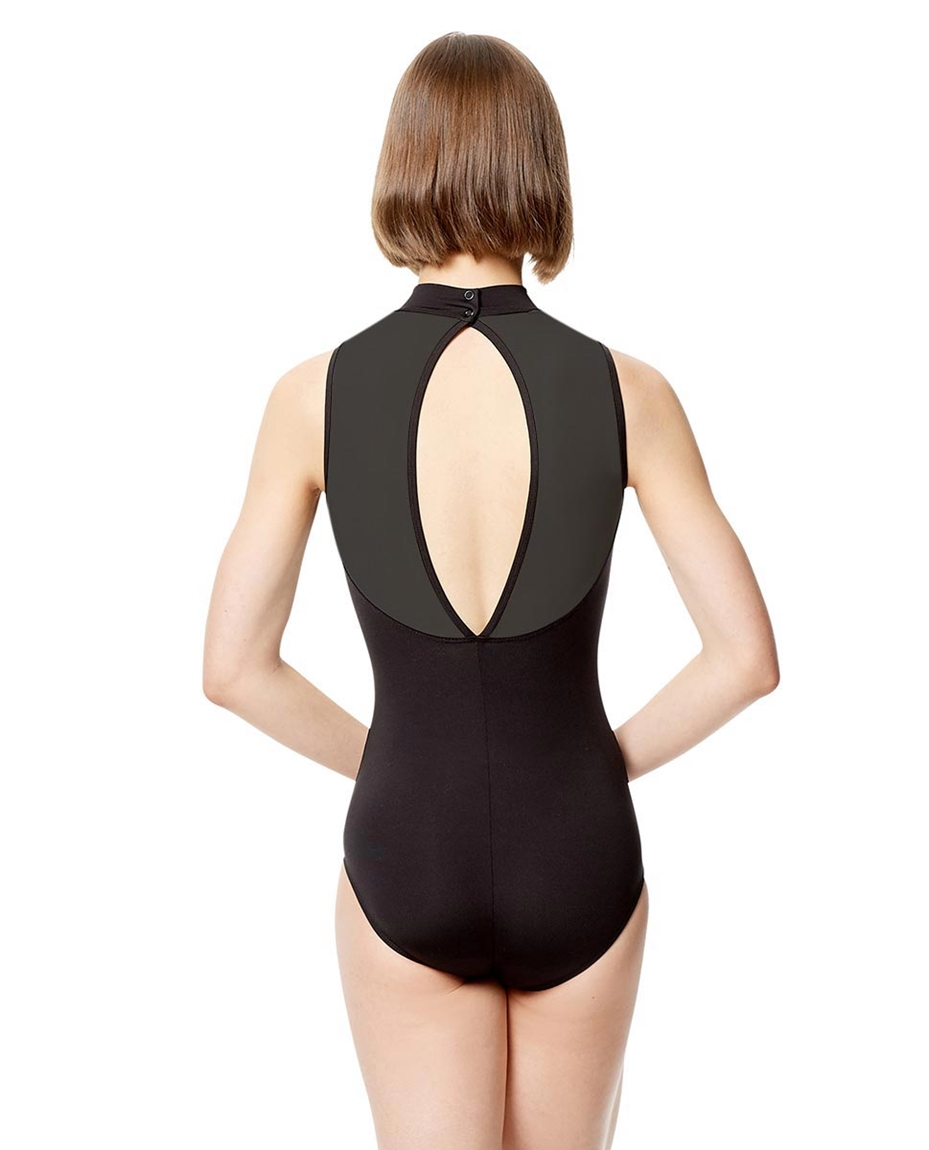 Adult Microfiber with Applique Mock Neck Leotard Ariela BLK
