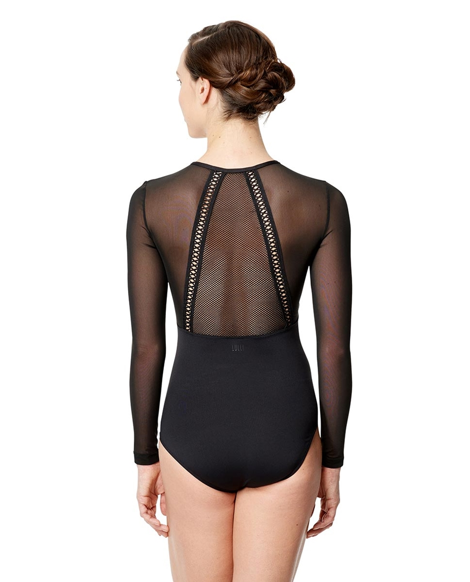 Adult Microfiber and Mesh Long Sleeve  Leotard Simona 2-mesh-long-sleeve-dance-leotard-simona-for-women
