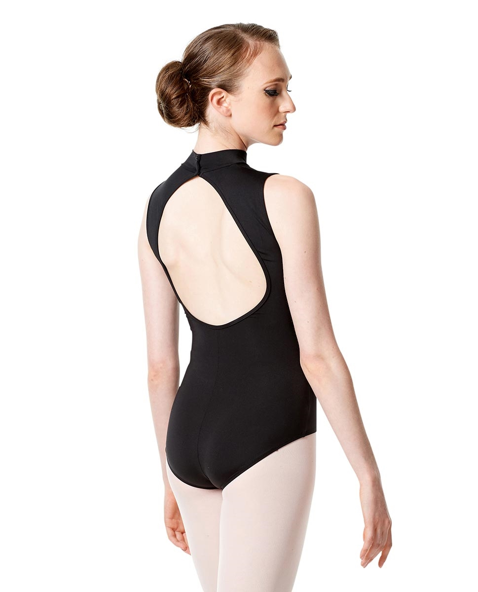 Womens Mock Neck Mesh Leotard Marissa back