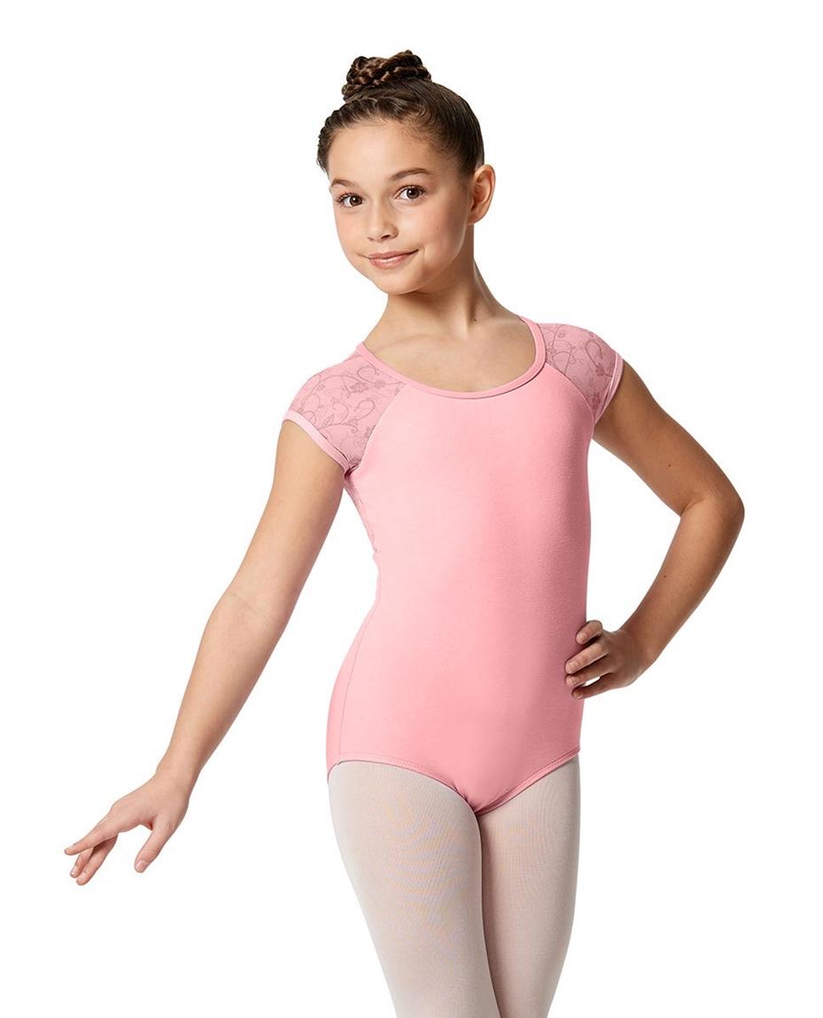 Girls Cap Sleeve Lace Dance Leotard Amita PEAC
