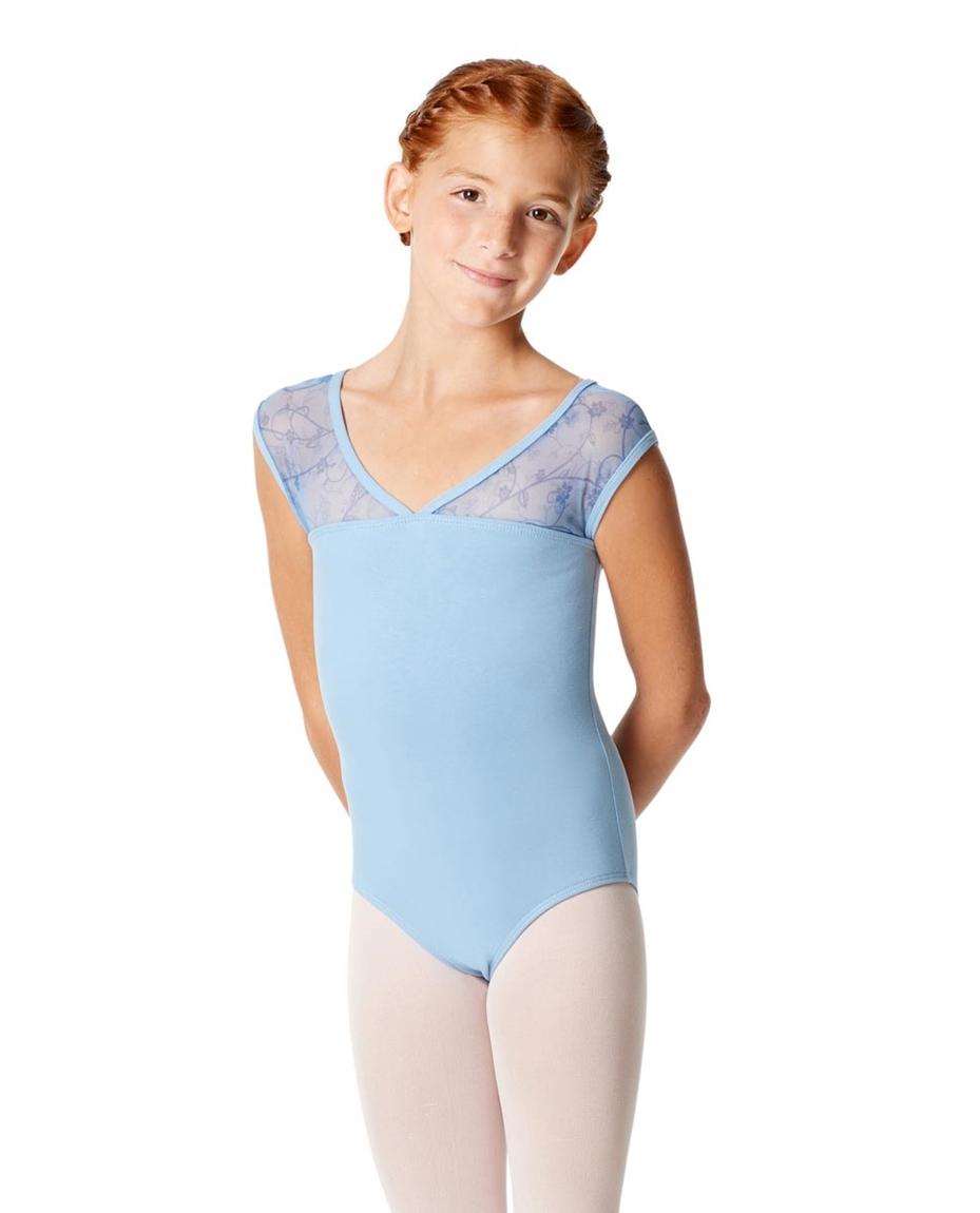 Girls Cap Sleeve Lace Dance Leotard Lina SKY