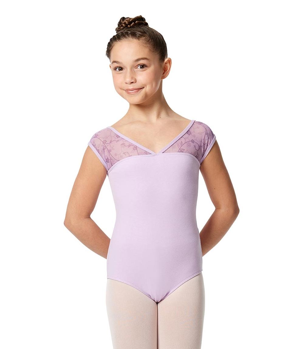 Girls Cap Sleeve Lace Dance Leotard Lina
