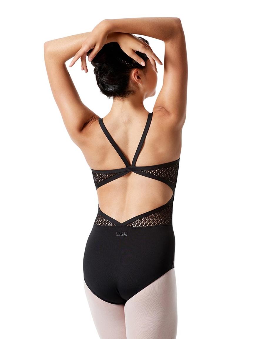 Womens Camisole Mesh Dance Leotard Donatella back-girls-mesh-camisole-dance-leotard-donatella