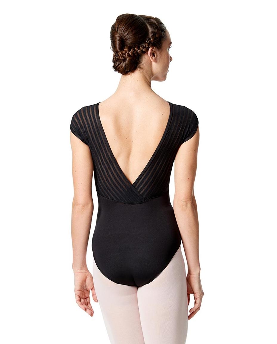 Short Sleeves Dance Leotard Milagros back-girls-stripped-mesh-short-sleeves-dance-leotard-milagros