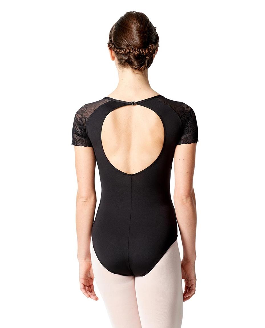 Womens Short Sleeve Leotard Alessia back-girls-lace-short-sleeve-dance-leotard-alessia