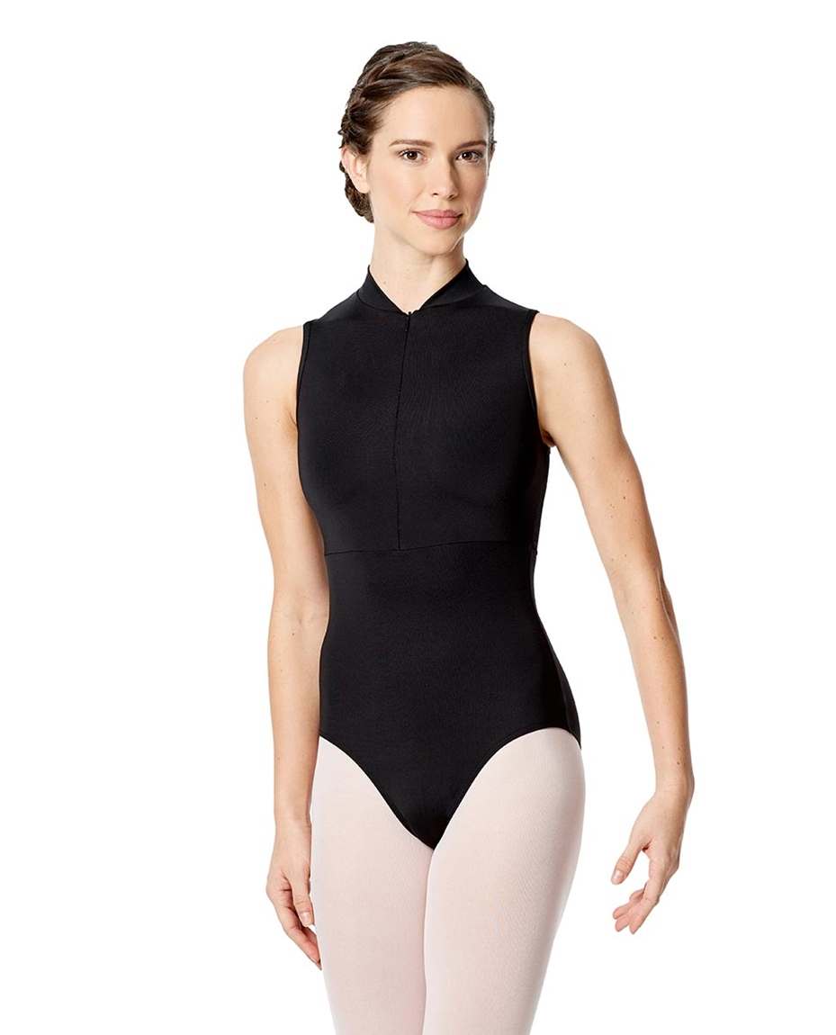 Womens Halter Zip Front Leotard Ximena detail
