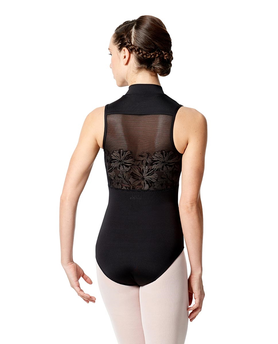 Womens Halter Zip Front Leotard Ximena back-girls-lace-halter-zip-front-dance-leotard-ximena