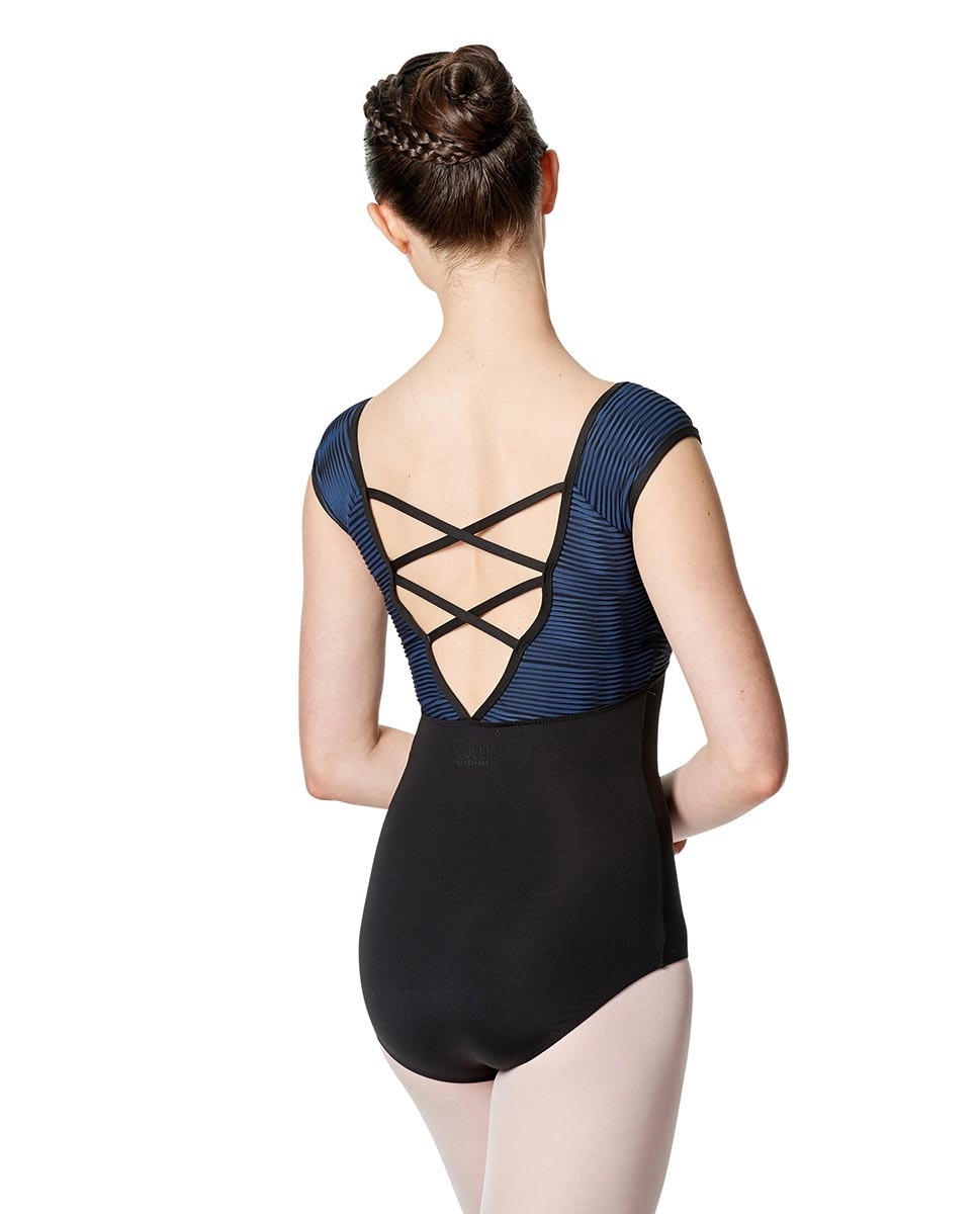 Women Cap Sleeve Strappy Back Leotard Cecily back