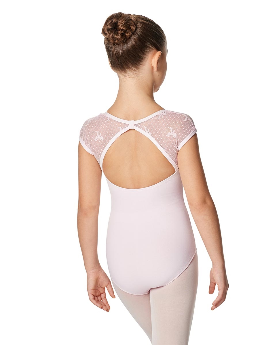 Girls Mesh Back Cap Sleeve Leotard Elaine back