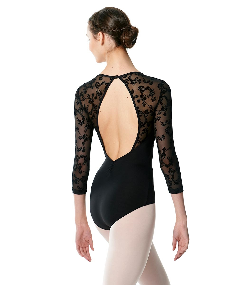 Adult Long Sleeve Flocked Mesh Leotard Albertine back