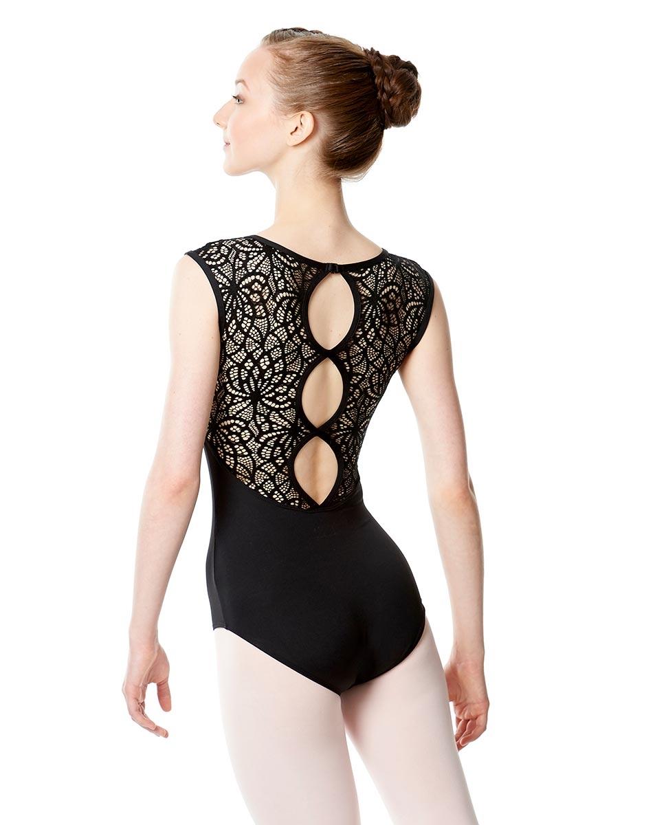 Women Cap Sleeve Lace Back Leotard Gillian back