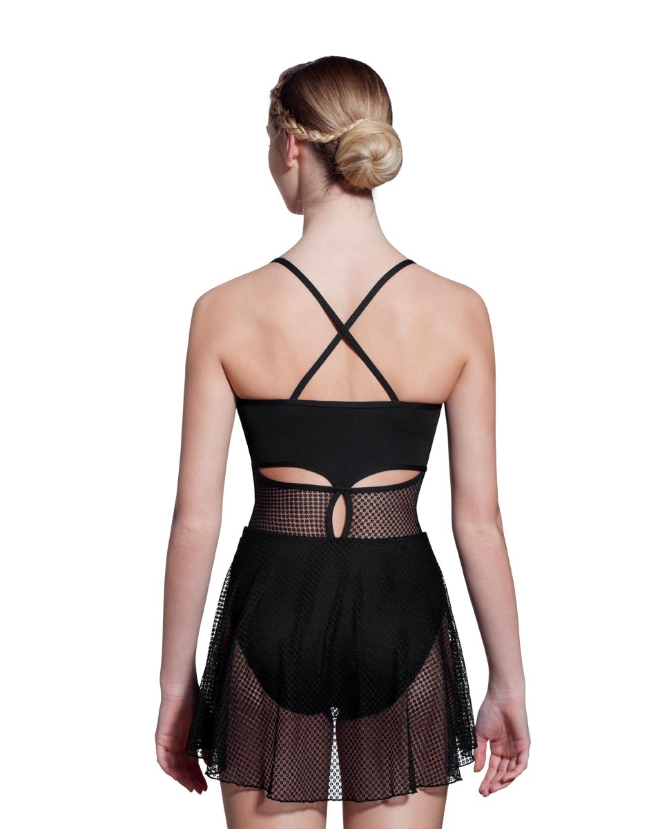 Women X-Back Mesh Skirted Leotard Stephanie back