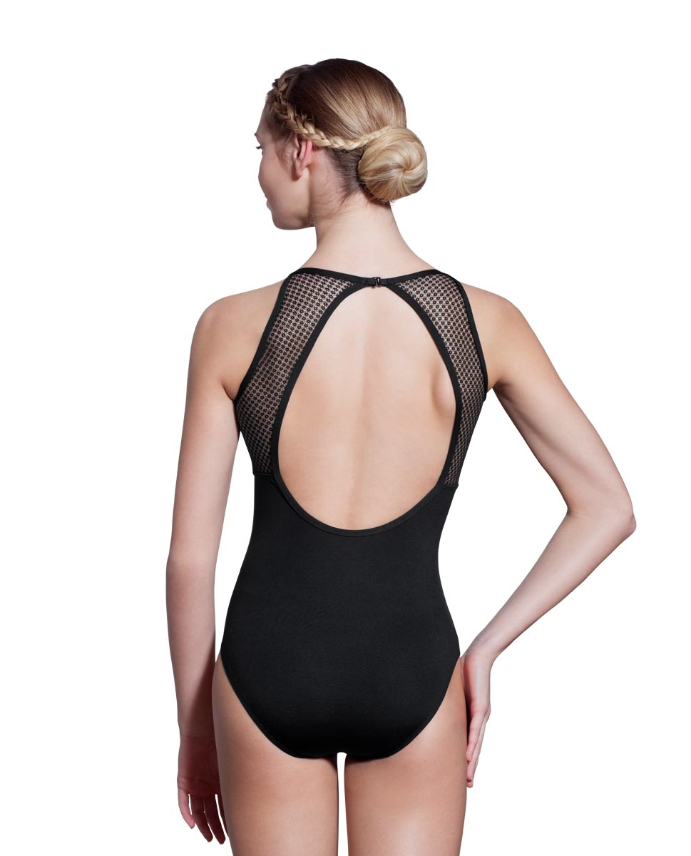 Women High Neck Mesh Leotard Scarlet back
