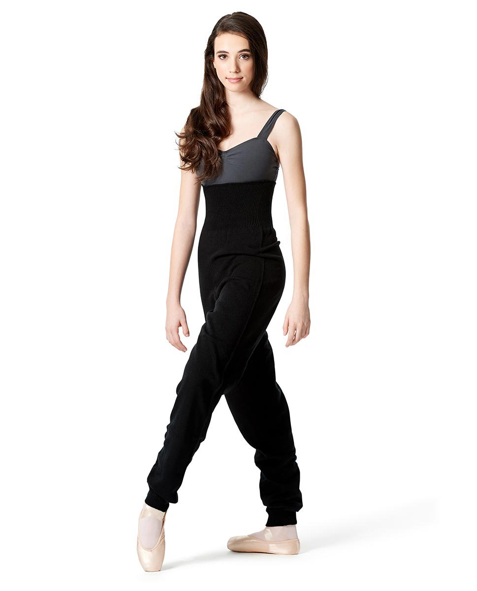 Adults High Waist Knit Dance Pants BLK
