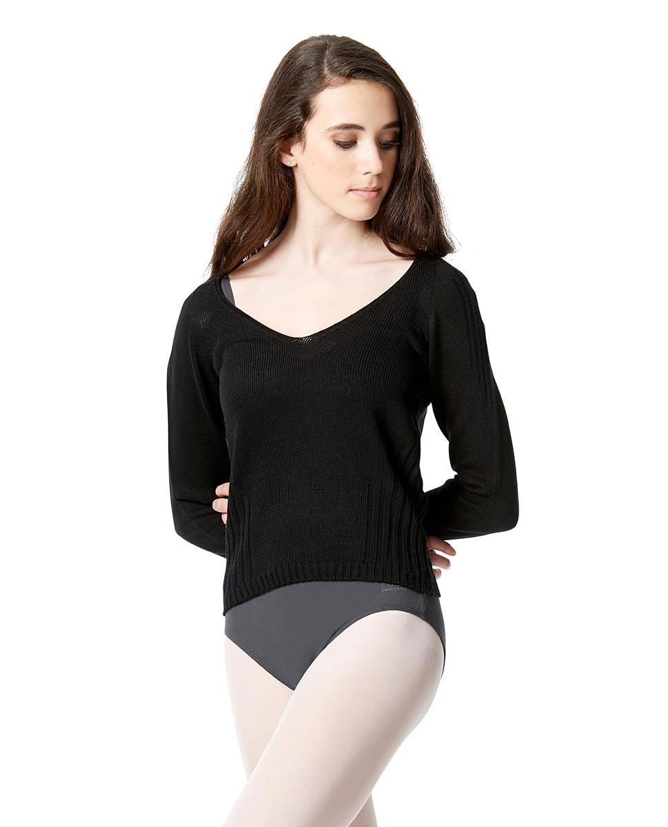 Knit Long Sleeve Dance Warm Up Sweater BLK