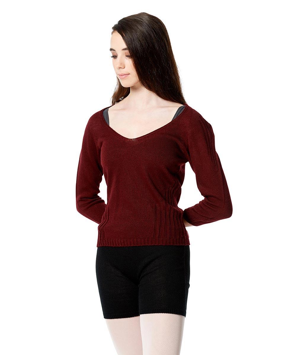 Knit Long Sleeve Dance Warm Up Sweater BUR