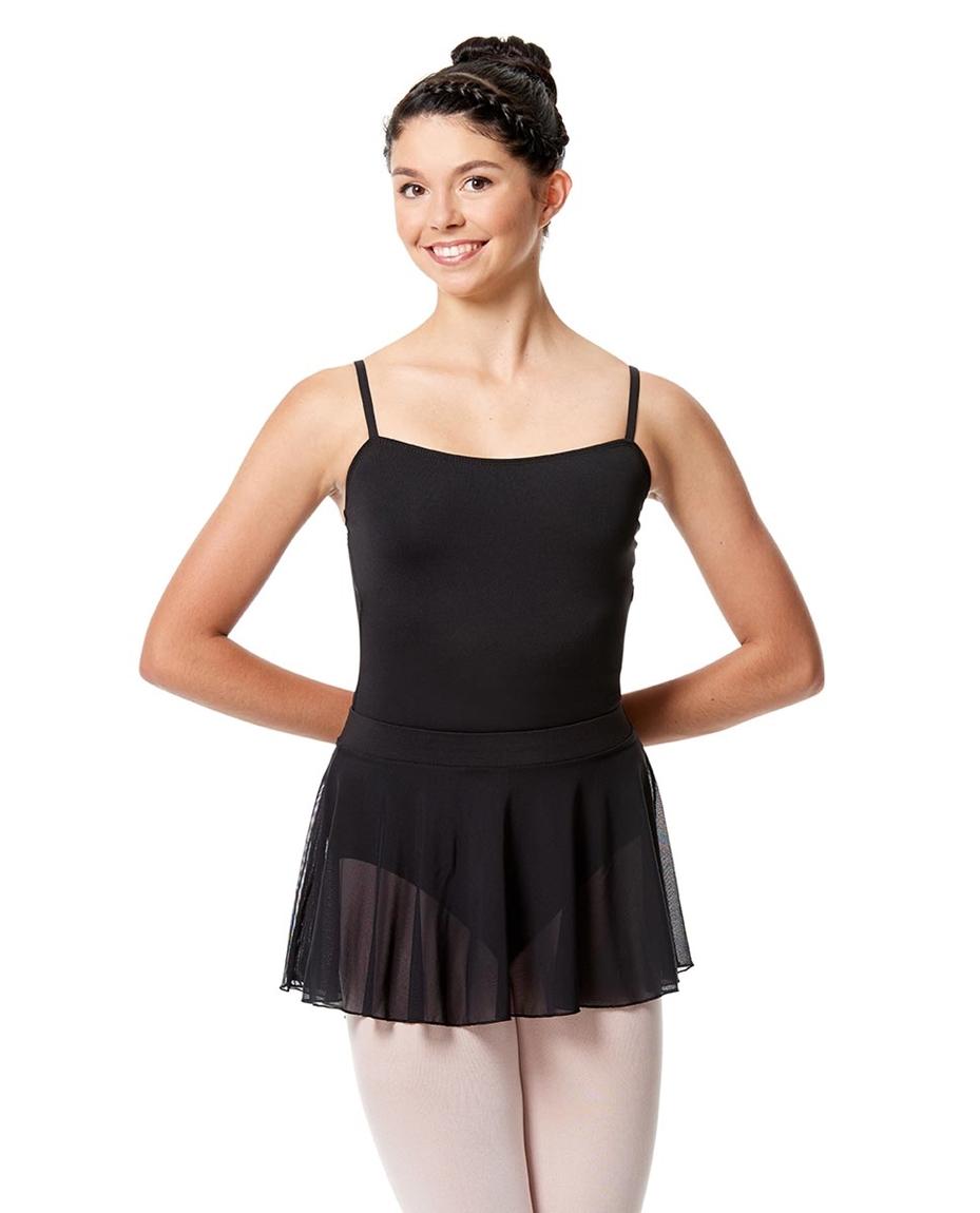 Girls Mesh Skirt Hania with Wide Elastic Waist Band BLK-girls-mesh-dance-skirt-hania-with-wide-elastic-waist-band-lulli-lub270c