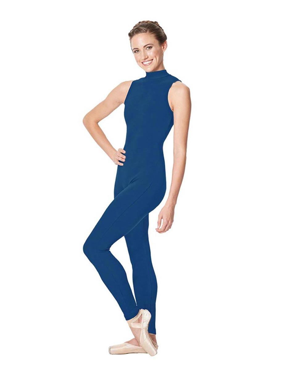 Adult Mock Neck Dance Unitard Juliana BLUE