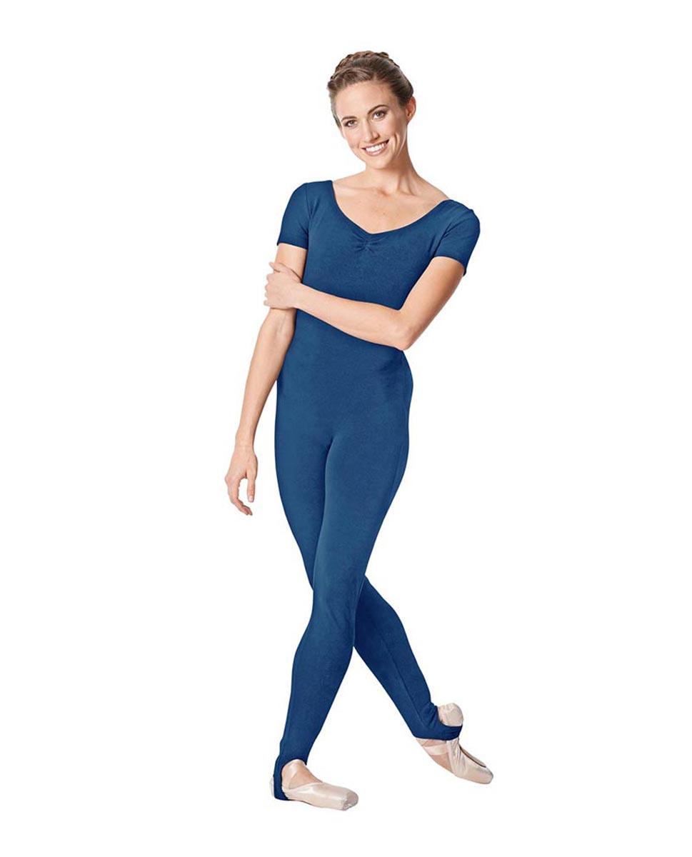 Short Sleeve Ankle Length Dance Unitard Sophie BLUE