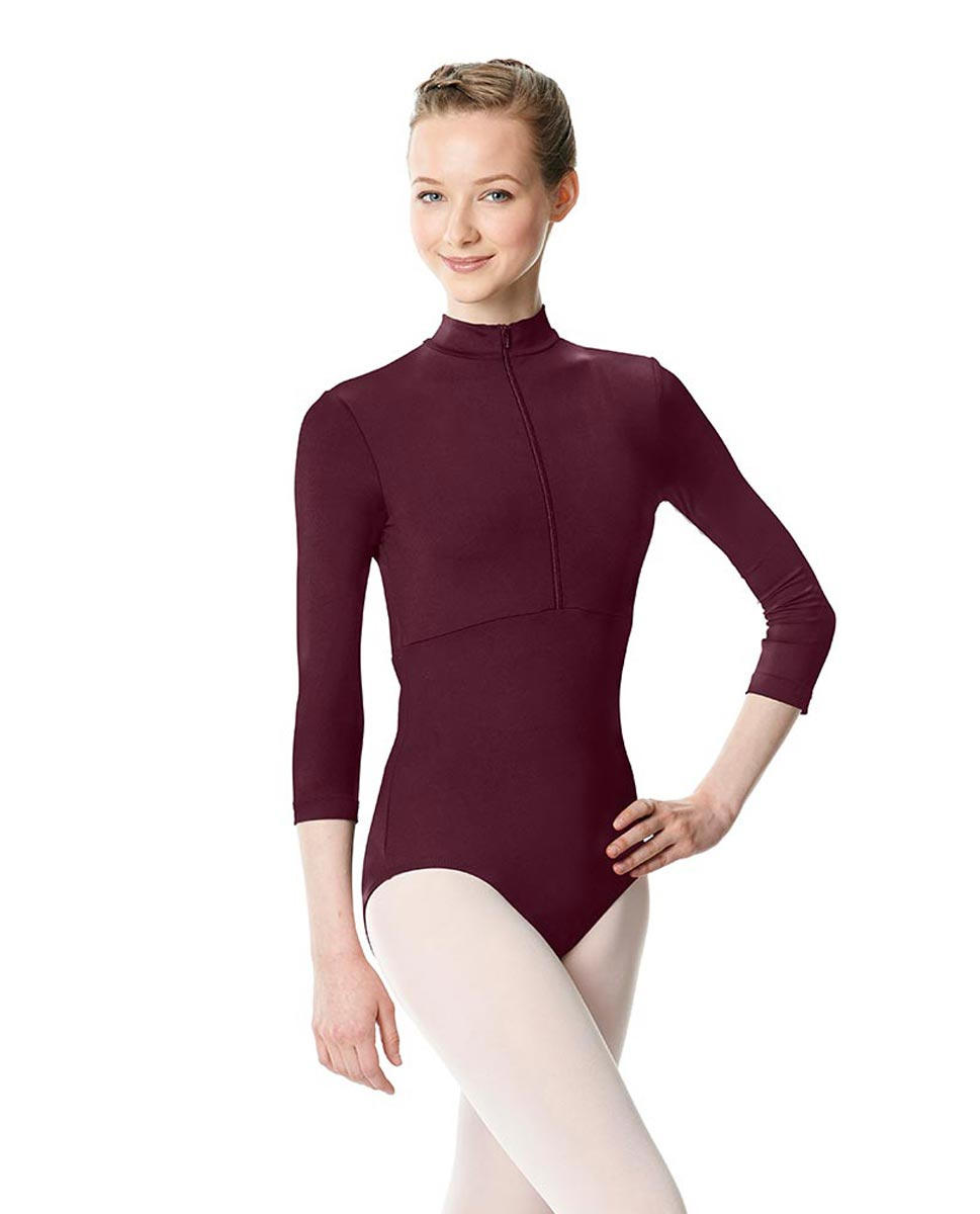 Long Sleeve Zipper Dance Leotard Eliana WINE