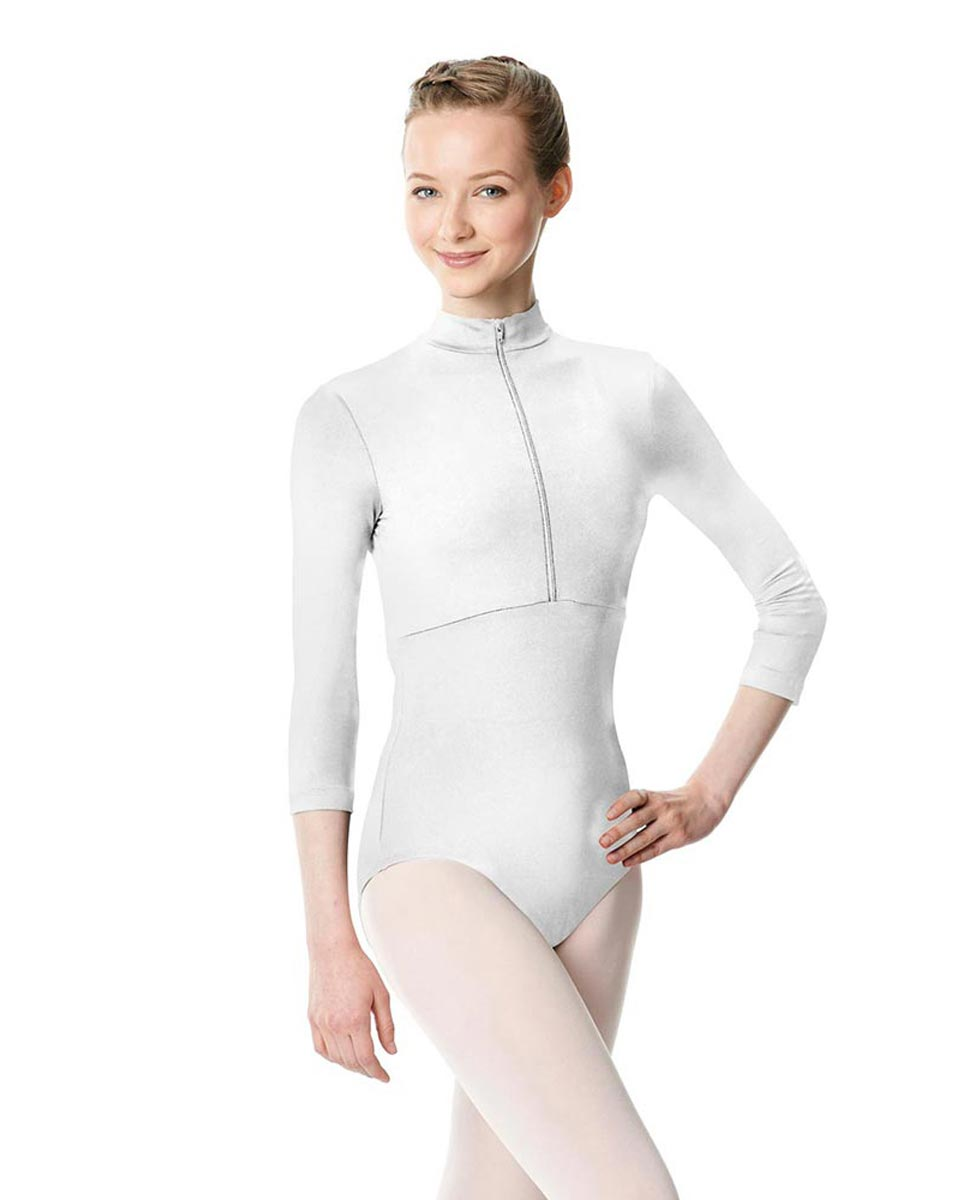 Long Sleeve Zipper Dance Leotard Eliana WHI