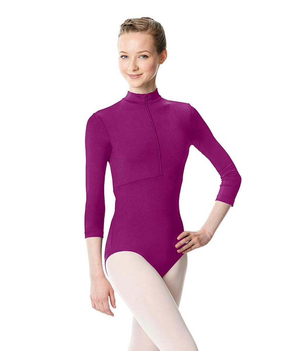 Long Sleeve Zipper Dance Leotard Eliana GRAP