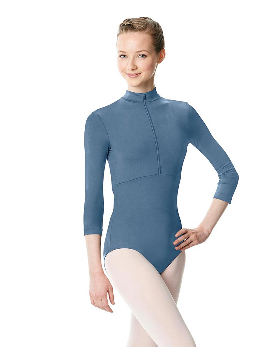 Long Sleeve Zipper Dance Leotard Eliana BLUE