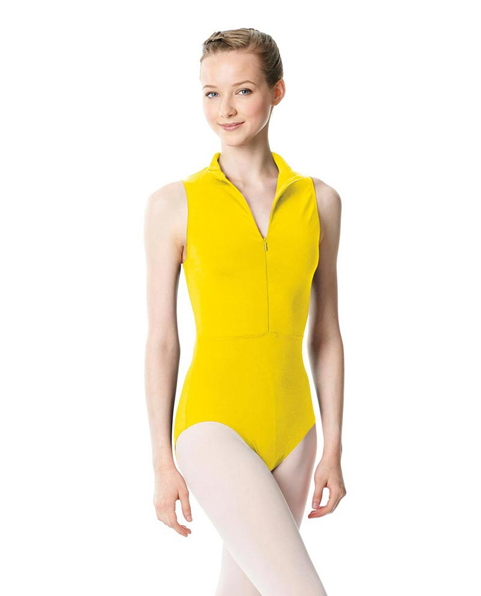 Womens Turtleneck Front Zipper Dance Leotard Leah YEL